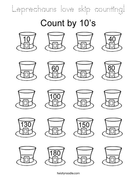 Leprechauns love skip counting! Coloring Page
