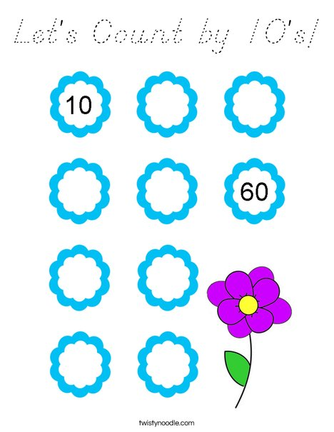 Let's Count by 10's! Coloring Page
