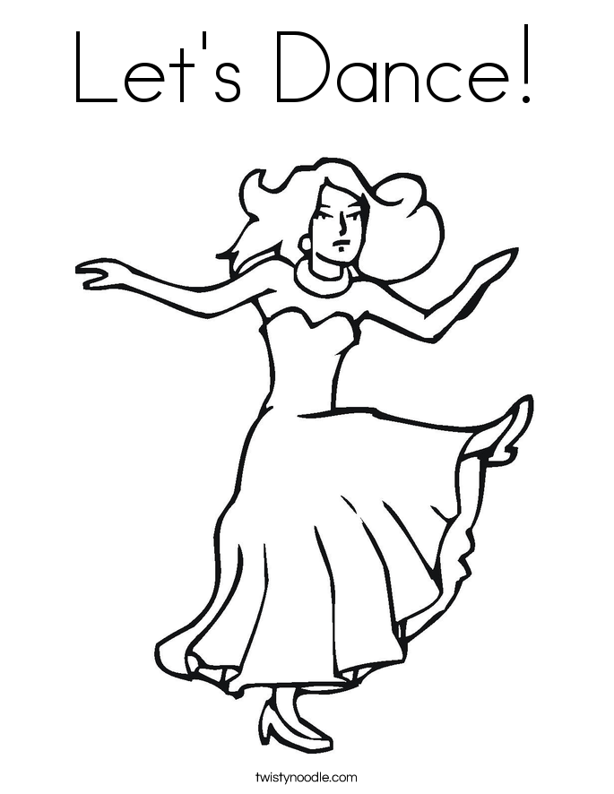 Let\'s Dance Coloring Page - Twisty Noodle