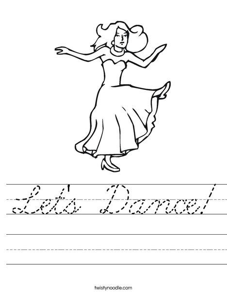 Dancer with Long Dress Worksheet