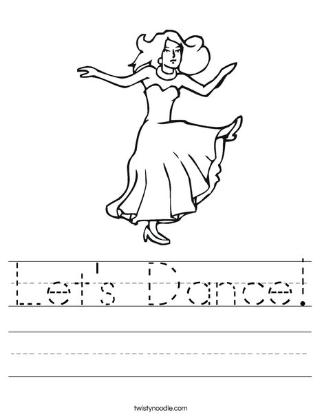 Dancer with Long Dress Worksheet