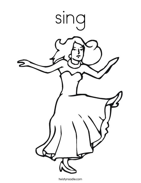 Dancer with Long Dress Coloring Page