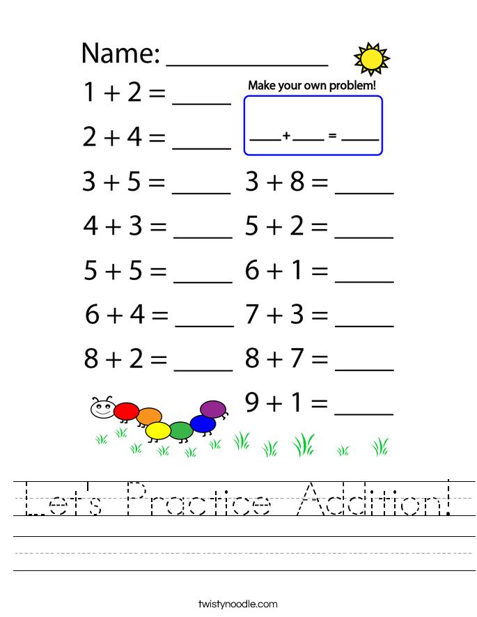 Let's Practice Addition! Worksheet