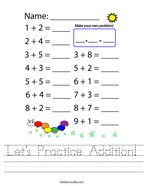 Let's Practice Addition Handwriting Sheet