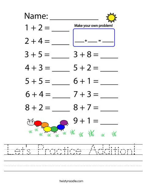 Let's Practice Addition!  Worksheet