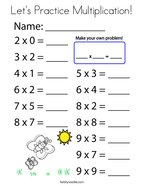 Let's Practice Multiplication Coloring Page