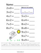Let's Practice Multiplication Handwriting Sheet