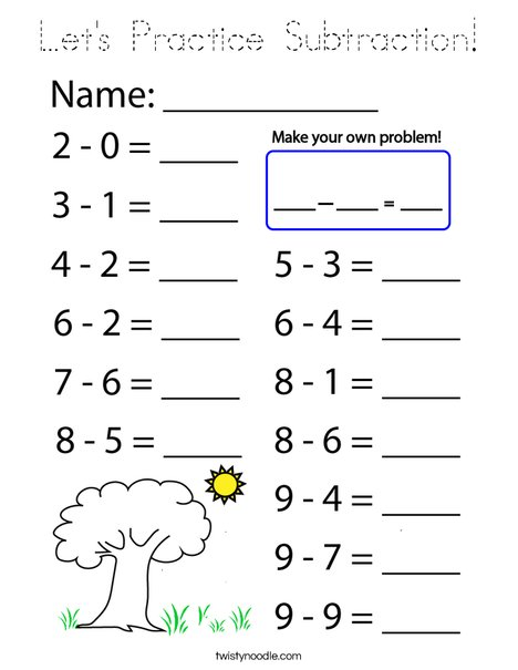 Let's Practice Subtraction! Coloring Page