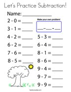 Let's Practice Subtraction Coloring Page