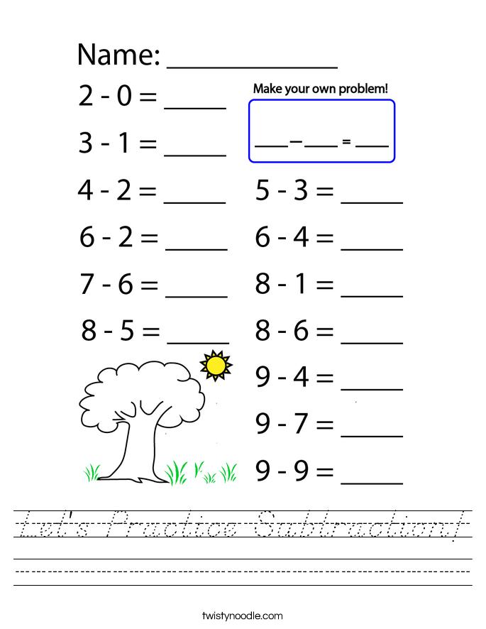 Let's Practice Subtraction! Worksheet