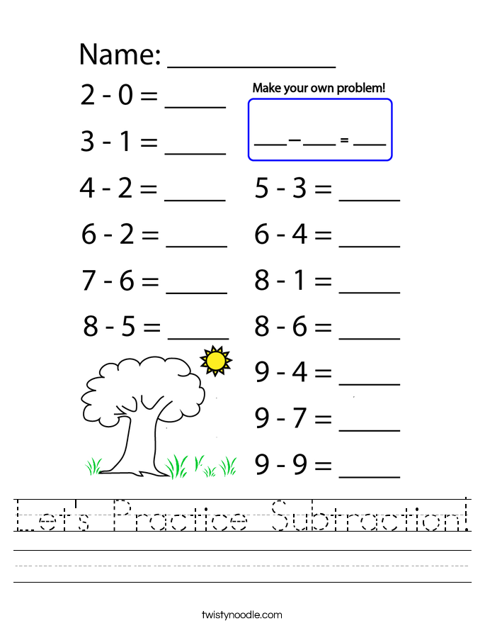 Let's Practice Subtraction! Worksheet