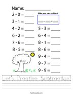 Let's Practice Subtraction Handwriting Sheet