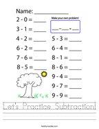 Let's Practice Subtraction Handwriting Sheet