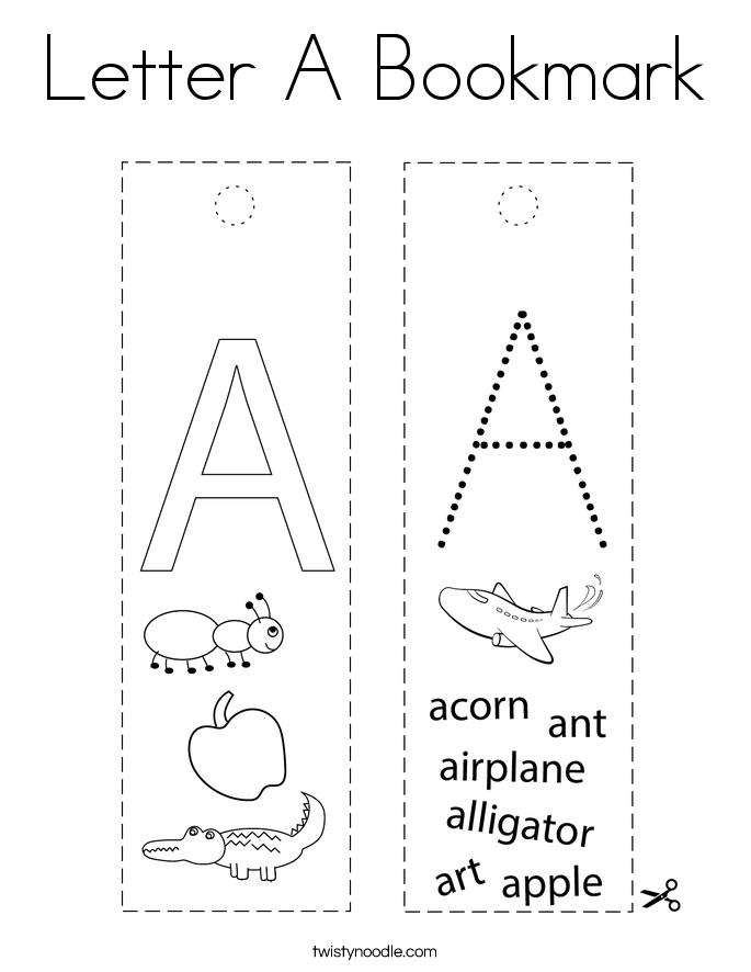 Letter A Bookmark Coloring Page