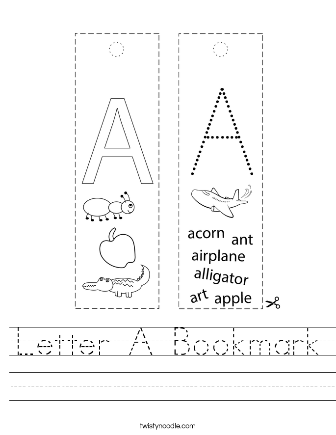 Letter A Bookmark Worksheet