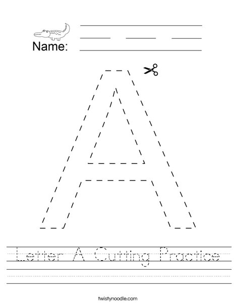 Letter A Cutting Practice Worksheet