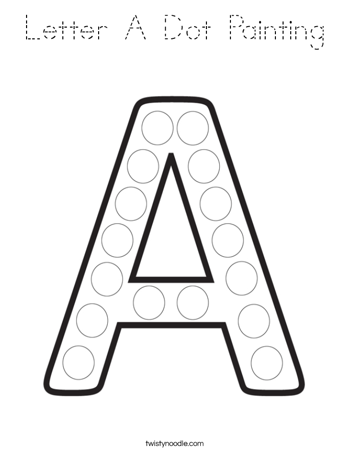 Letter A Dot Painting Coloring Page