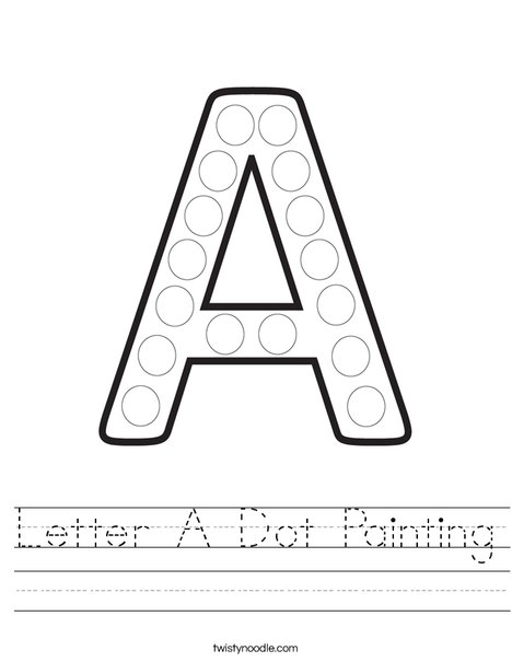 Letter A Dot Painting Worksheet