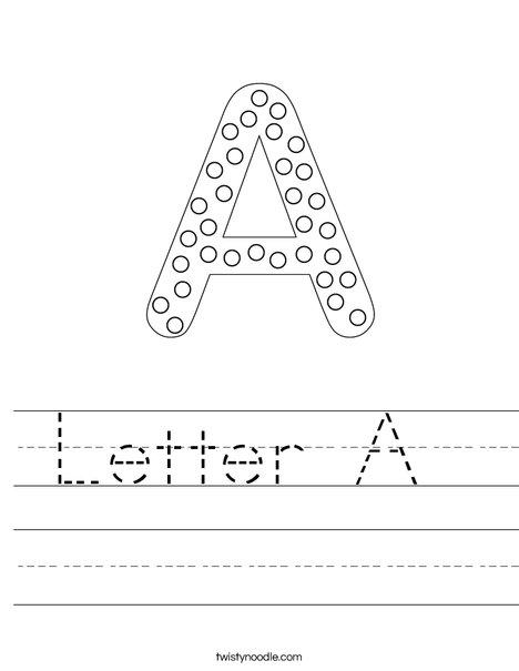 Letter A Worksheet - Twisty Noodle