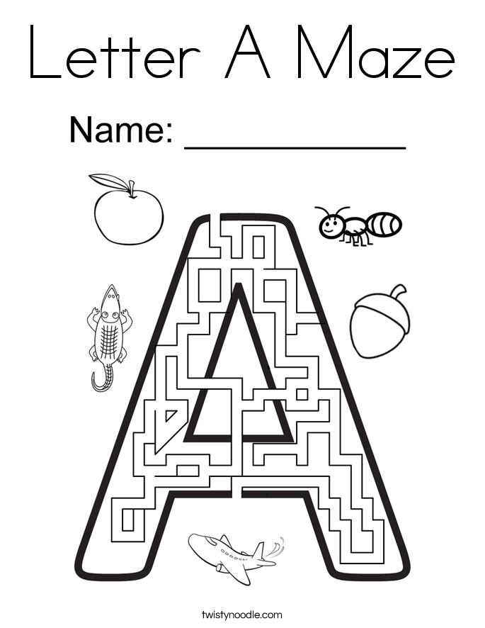 coloring pages mazes letter-#18