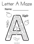 Letter A Maze Coloring Page