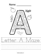 Letter A Maze Handwriting Sheet