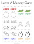 Letter A Memory Game Coloring Page