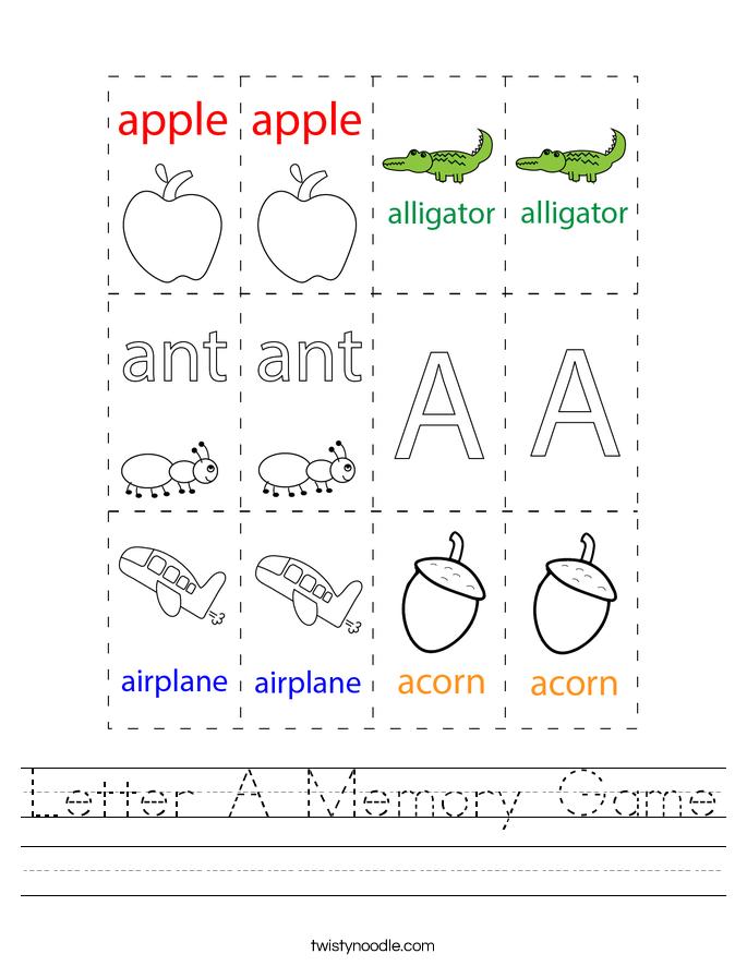 Letter A Memory Game Worksheet