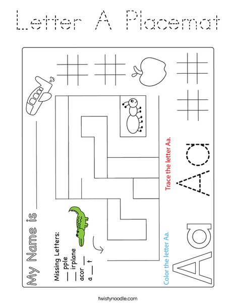 Letter A Placemat Coloring Page