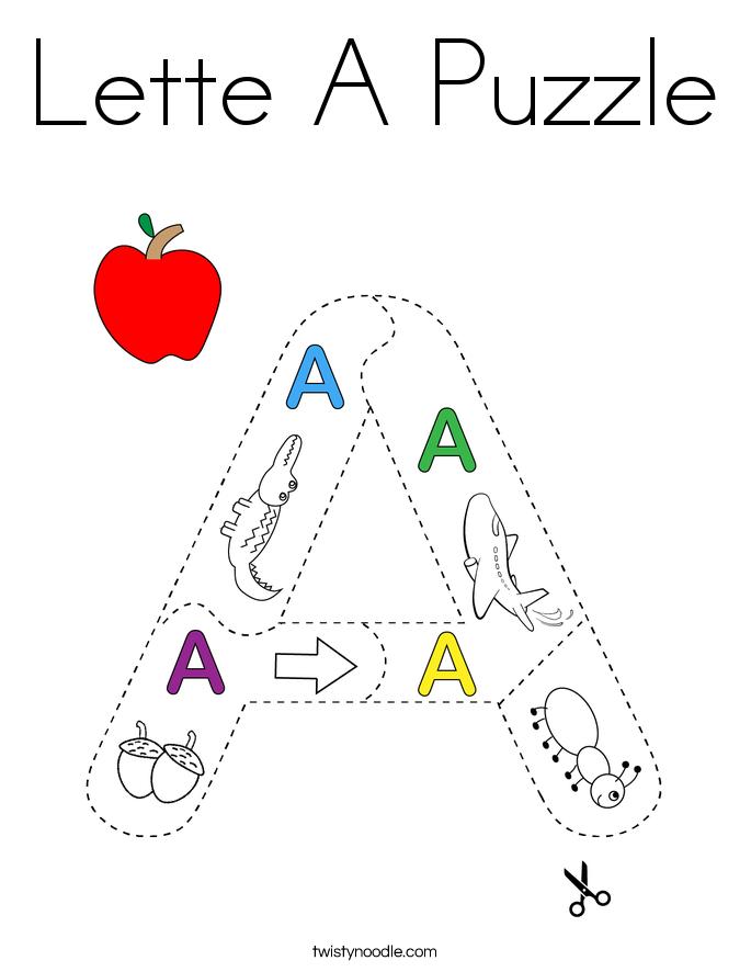 Lette A Puzzle Coloring Page