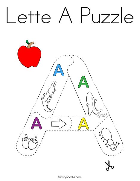 Letter A Puzzle Coloring Page