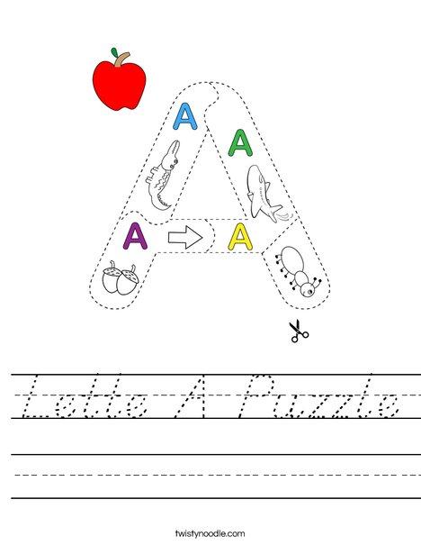 Letter A Puzzle Worksheet
