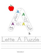 Lette A Puzzle Handwriting Sheet