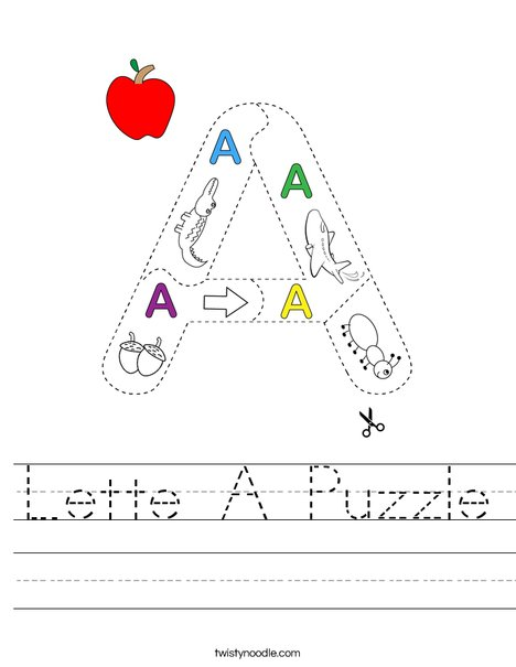 Letter A Puzzle Worksheet