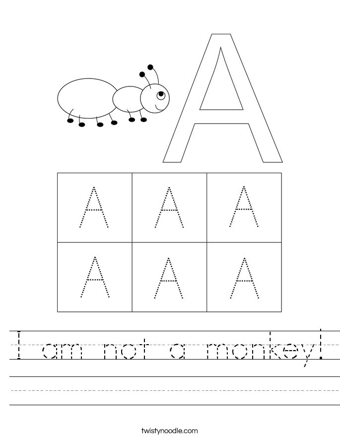 I am not a monkey! Worksheet