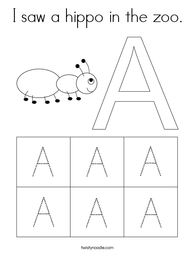 I saw a hippo in the zoo. Coloring Page