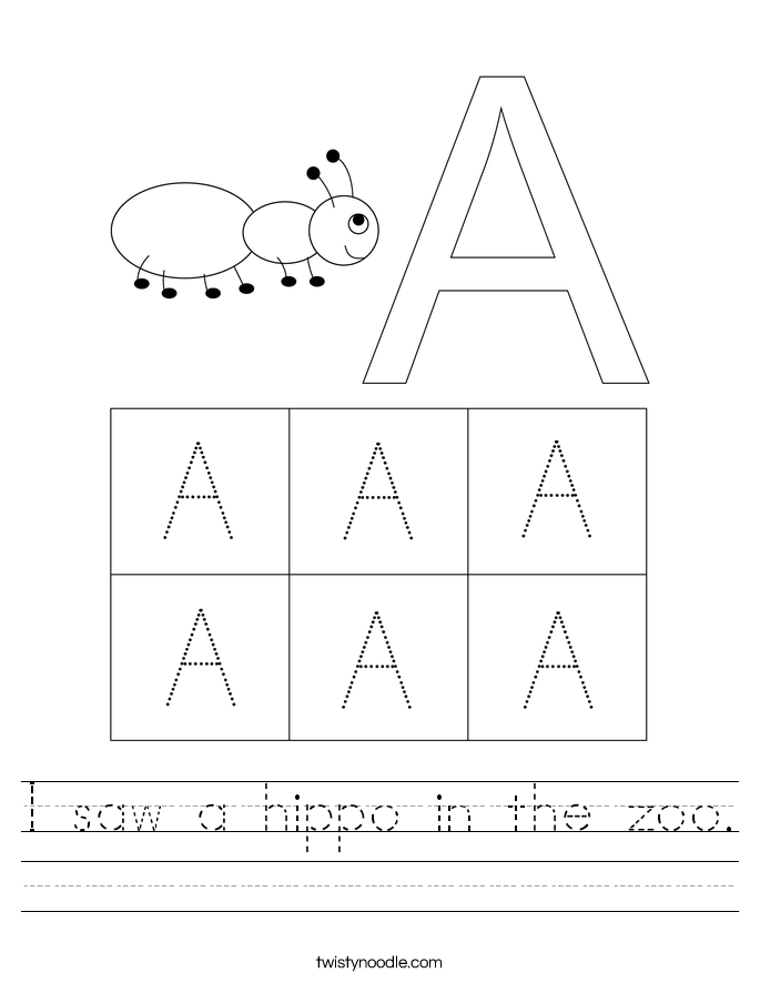 I saw a hippo in the zoo. Worksheet