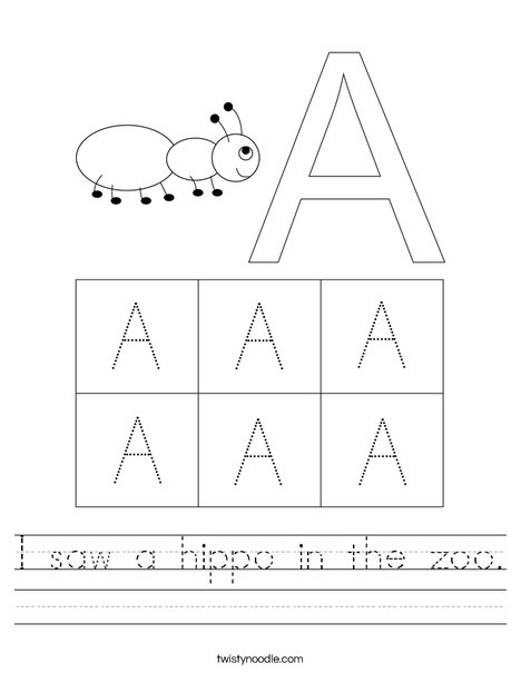 Uppercase Letter A Worksheet