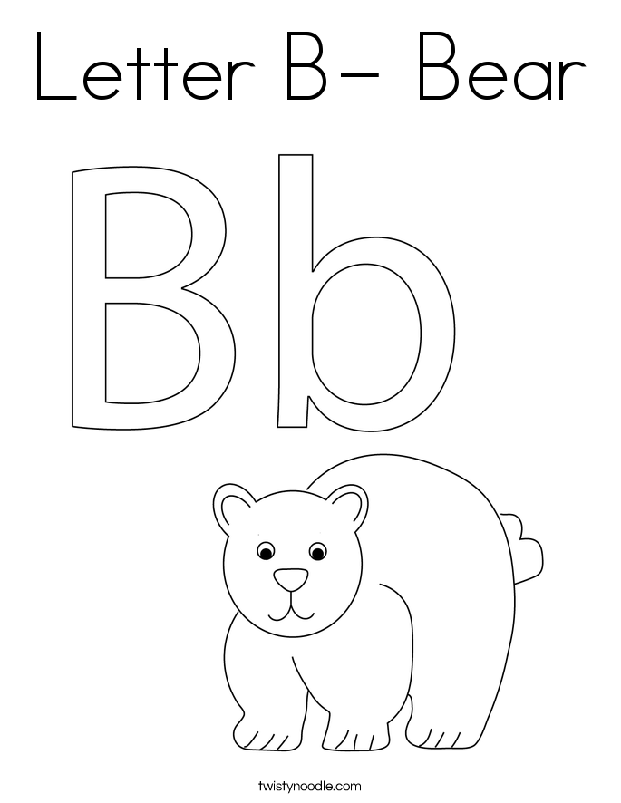 Letter B- Bear Coloring Page