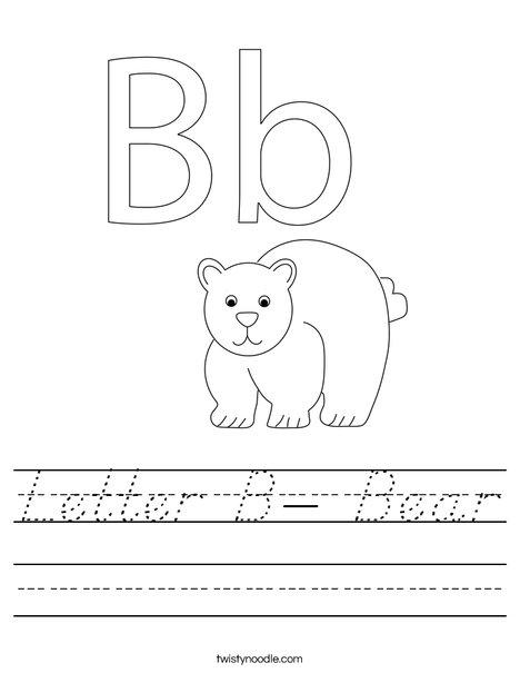 Letter B- Bear Worksheet