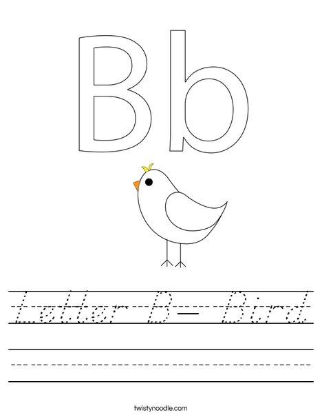 Letter B- Bird Worksheet