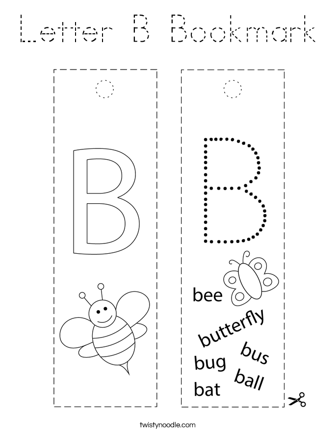 Letter B Bookmark Coloring Page - Tracing - Twisty Noodle
