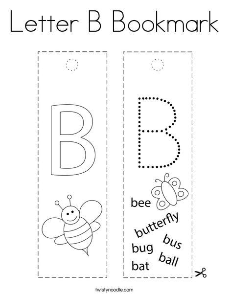Letter B Bookmark Coloring Page