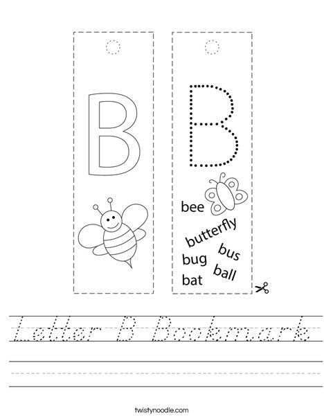 Letter B Bookmark Worksheet - D'Nealian - Twisty Noodle