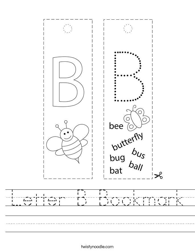 Letter B Bookmark Worksheet