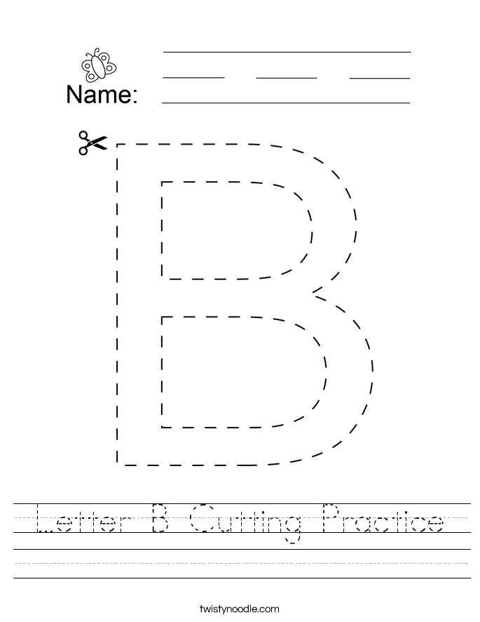 Letter B Cutting Practice Worksheet