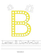 Letter B Do-A-Dot Handwriting Sheet