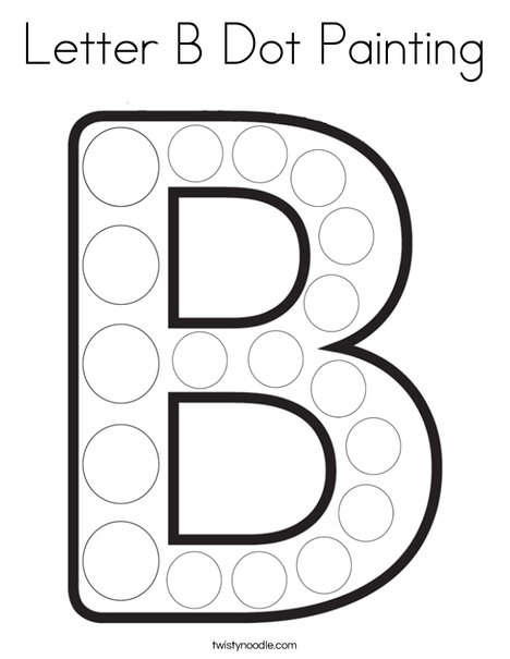 Letter B Dot Painting Coloring Page - Twisty Noodle