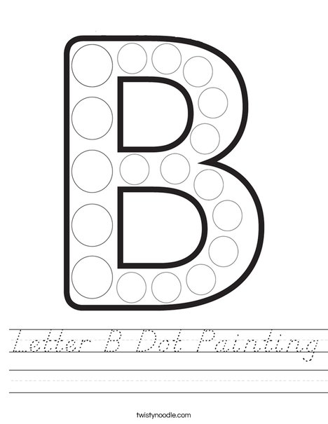 Letter B Dot Painting Worksheet