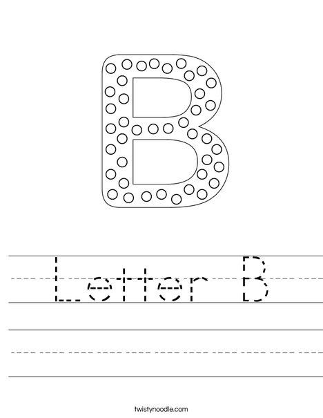 Letter B Worksheet - Twisty Noodle